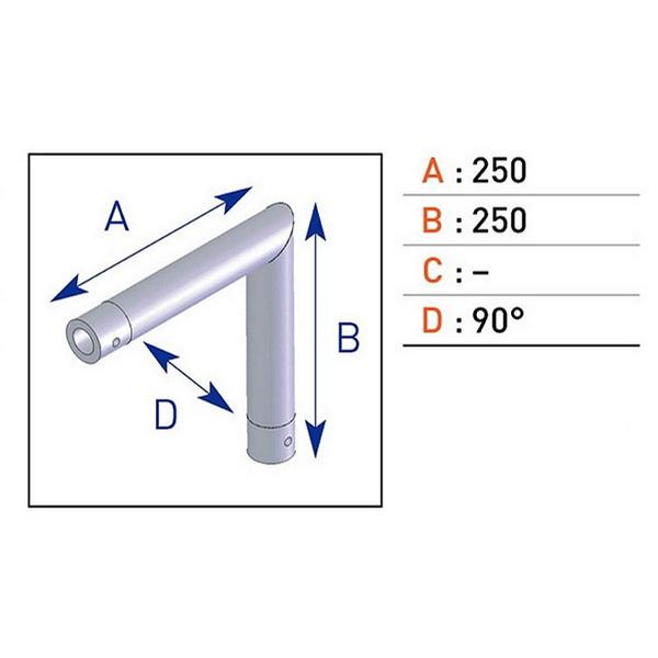 Location d'angle monotube alu ASD 2D EX 5023.