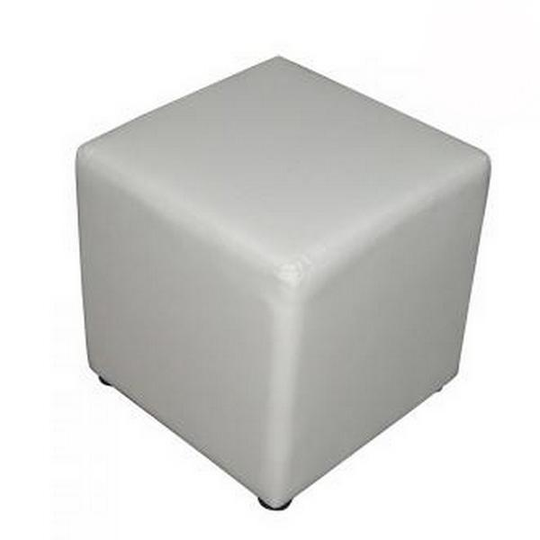 Location de pouf blanc similicuir.